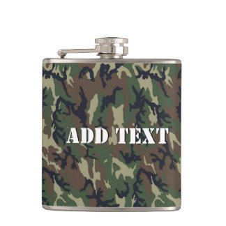 Military Green Camouflage Pattern Hip Flask