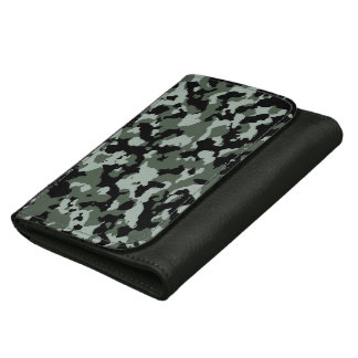 Military Green Camouflage Pattern Leather Wallets