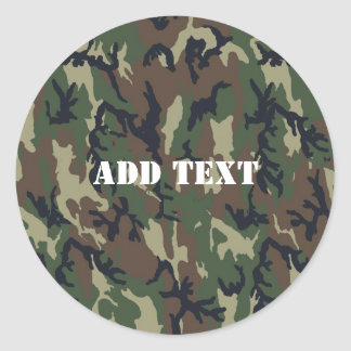 Military Green Camouflage Pattern Round Sticker