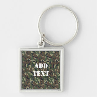 Military Green Camouflage Pattern Silver-Colored Square Key Ring