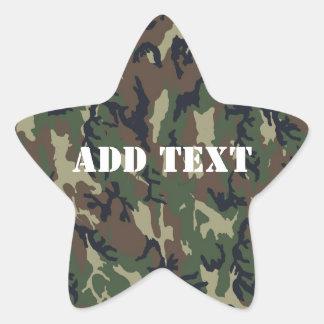 Military Green Camouflage Pattern Star Sticker