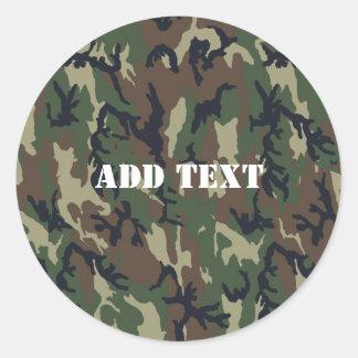 Military Green Camouflage Pattern Round Sticker