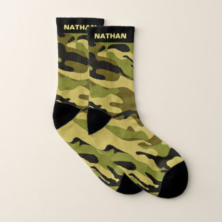 Military Green Camouflage Personalized Name Socks