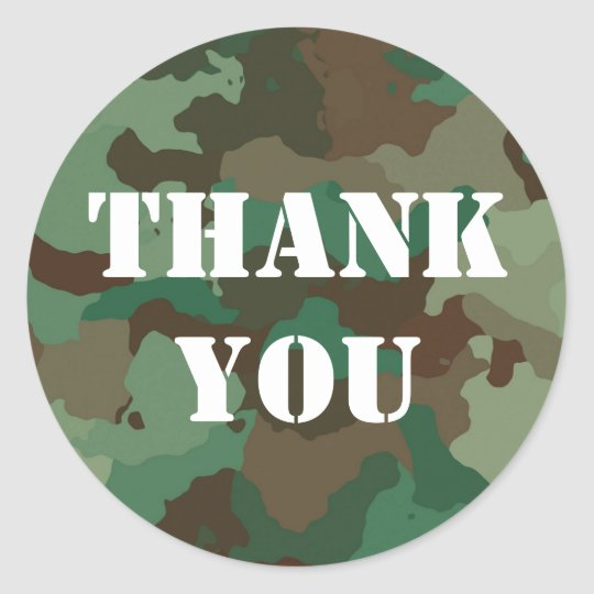 Military Green Camouflage Thank You Sticker