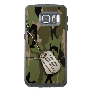 Military Green Camouflage with Dog Tags OtterBox Samsung Galaxy S6 Edge Case