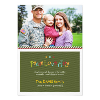 Military Green Double Sided Holiday Photo Card