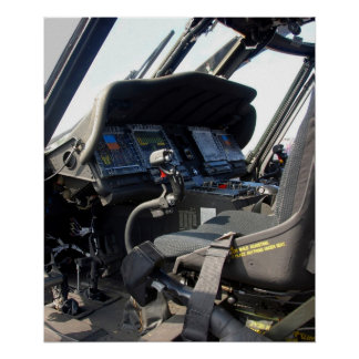 Military Helicopter Cockpit Poster