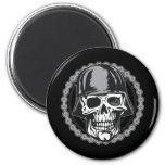 Military Helmet Skull With Biker Chain 6 Cm Round Magnet