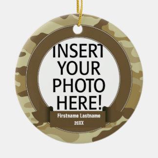 Military Hero - Camo SINGLE-SIDED Round Ceramic Decoration