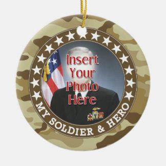 Military Hero - Camouflage Design DOUBLE-SIDED Round Ceramic Decoration