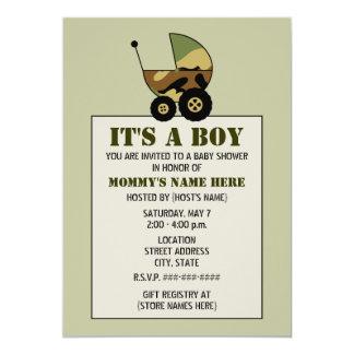 Military Inspired Camoflauge Baby Stroller Shower 13 Cm X 18 Cm Invitation Card