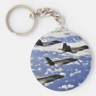 Military jest basic round button key ring