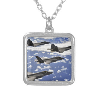 Military jest square pendant necklace