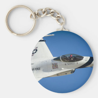 Military jet basic round button key ring