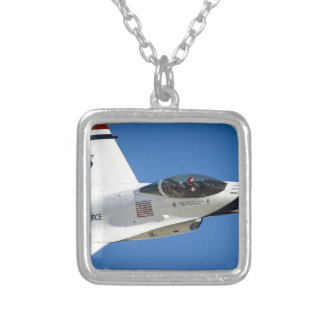 Military jet square pendant necklace