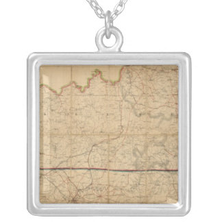 Military Map of the States of Kentucky Silver Plated Necklace