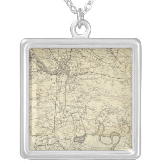 Military Map of the United States Silver Plated Necklace