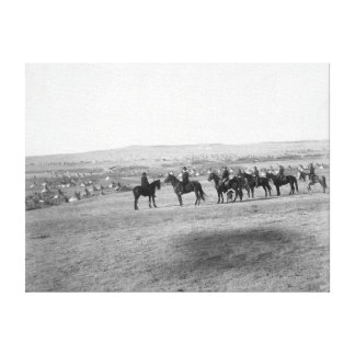 Military Men Survey a Distant Lakota Camp Canvas Print