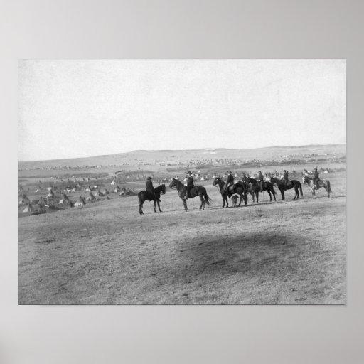 Military Men Survey a Distant Lakota Camp Posters