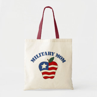 Military Mom Patriotic Apple Canvas Bags
