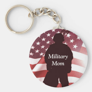 Military Mom Patriotic Pride Basic Round Button Key Ring