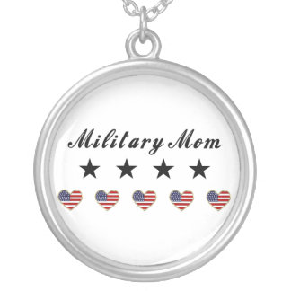 Military Mom Round Pendant Necklace