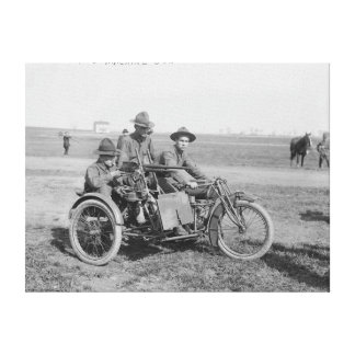 Military Motorcycle with Sidecar and Machine Gun Canvas Print