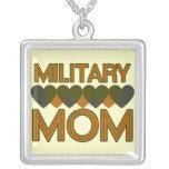 Military Mum Square Pendant Necklace