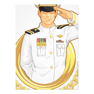 Military Officer in Salute Gesture Invite