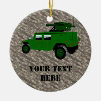Military Offroad Truck Tow Missile Launcher Christmas Ornament