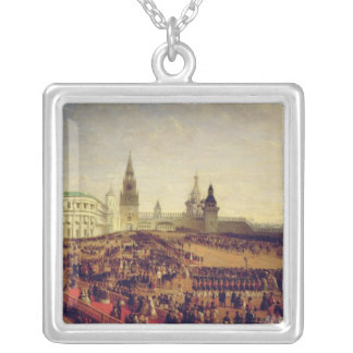 Military parade during Coronation of Alexander Silver Plated Necklace