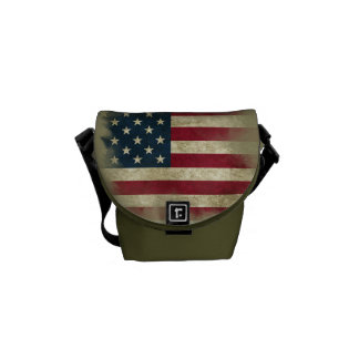 Military Patriotc US Flag. Land of the Free Courier Bags