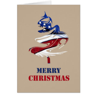Military Patriotic American Merry Christmas Tree Card