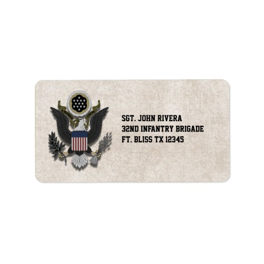 Military Patriotic Eagle Logo Seal Address Label