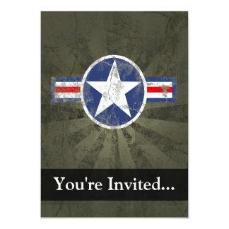 Military Patriotic Vintage Star 5x7 Paper Invitation Card