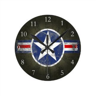 Military Patriotic Vintage Star Round Clock