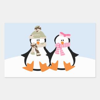 Military Penguin Couple Rectangular Sticker