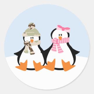 Military Penguin Couple Round Sticker