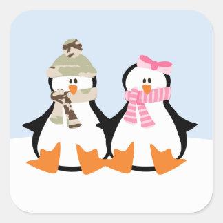 Military Penguin Couple Square Sticker
