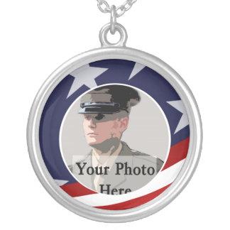 Military Photo Keepsake Round Pendant Necklace