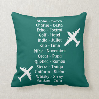 Military Pilot Airplane Alphabet Flying Lesson Cushion