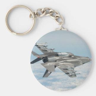Military plane basic round button key ring