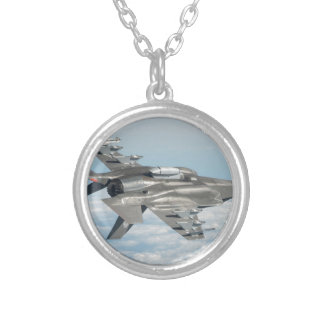 Military plane silver plated necklace