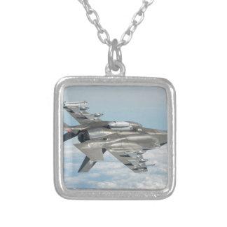Military plane square pendant necklace