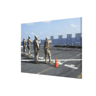 Military policemen train with the Berretta M9 Stretched Canvas Print