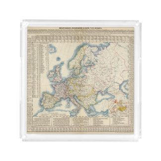 Military Political Map of Europe Acrylic Tray
