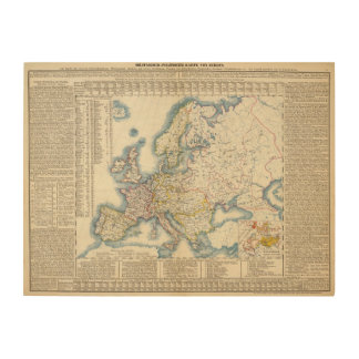 Military Political Map of Europe Wood Canvas