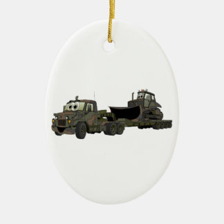 Military Semi Bulldozer Flatbed Cartoon Christmas Ornament