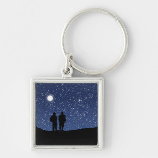 Military Silent Night Silver-Colored Square Key Ring