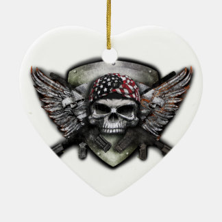 Military Skull With Crossed Gun Special Warfare Ceramic Heart Decoration